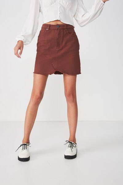 The Re-Made Mini Denim Skirt, CHERRY MAHOGANY