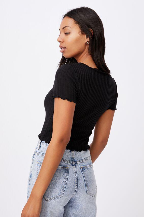 Avery Short Sleeve Frill Cardi, BLACK