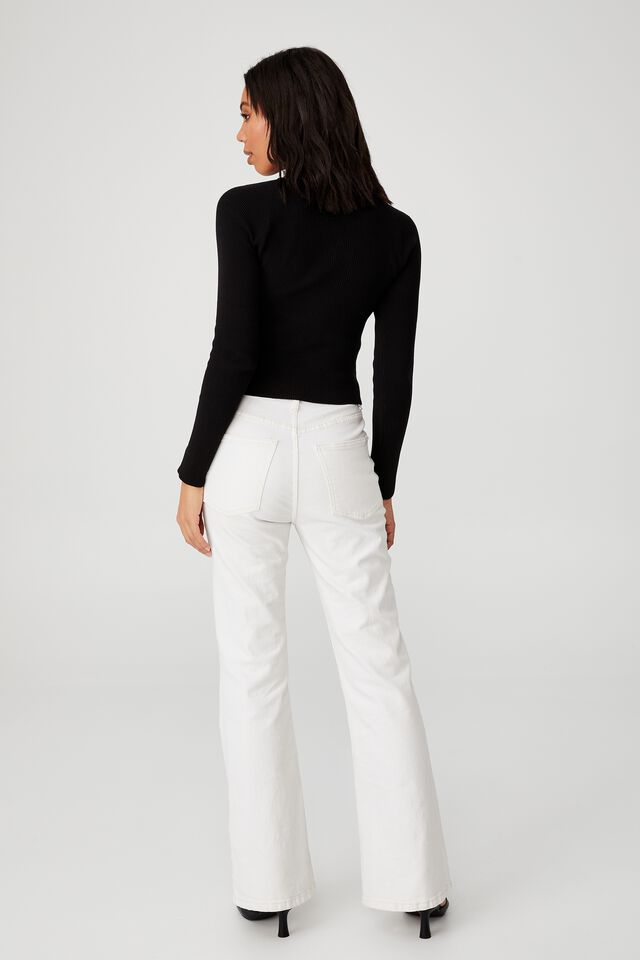 Ribbed Fashion Detail Long Sleeve, BLACK