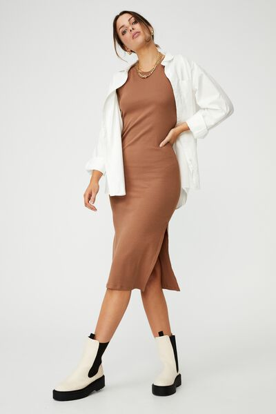 Essential Split Short Sleeve Midi Dress, COCOA BEAN