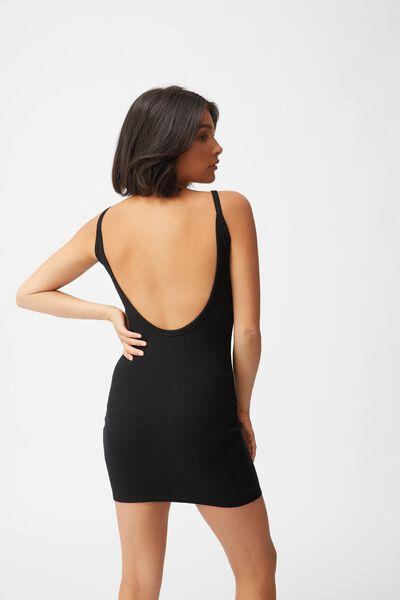 Lola Low Back Mini Dress, BLACK
