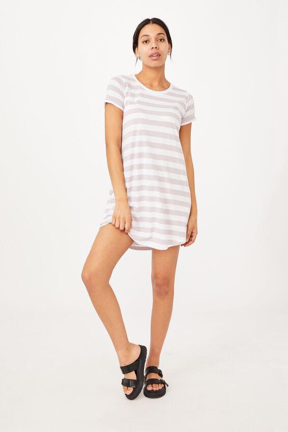Tina Tshirt Dress 2, LANA STRIPE CLOUD GREY MARLE/WHITE