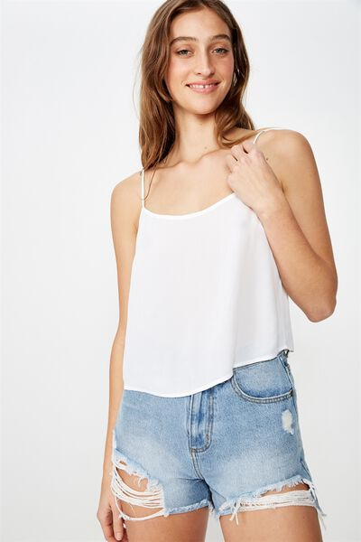 Astrid Cropped Scoop Neck Cami, WHITE