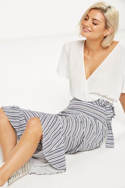 Woven Carlette Maxi Skirt, WHITE/NAVY CYPRUS STRIPE