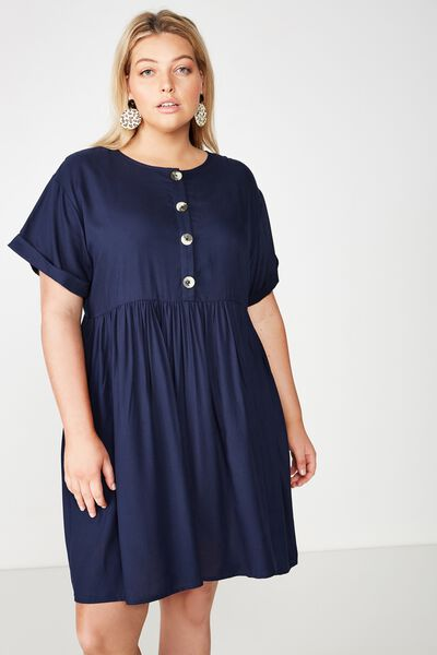 Curve Woven Button Front Dress, MOOD INDIGO
