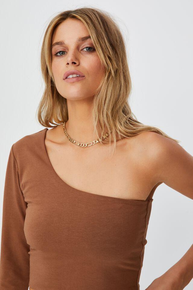 Evie One Shoulder Long Sleeve Top, CHOCOLATE