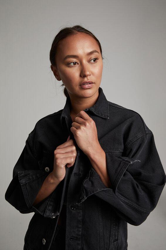 Girlfriend Denim Jacket, WASHED BLACK