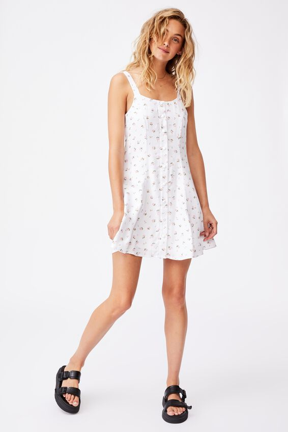 Woven Blair Button Through Strappy Mini Dress Peti, CLARE DITSY WHITE