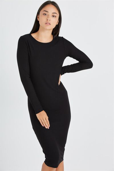 Karen Long Sleeve Midi Dress, BLACK