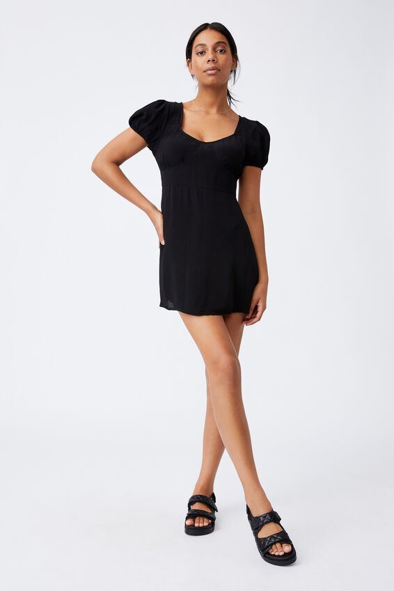 Woven Essential Tie Back Mini Tea Dress, BLACK