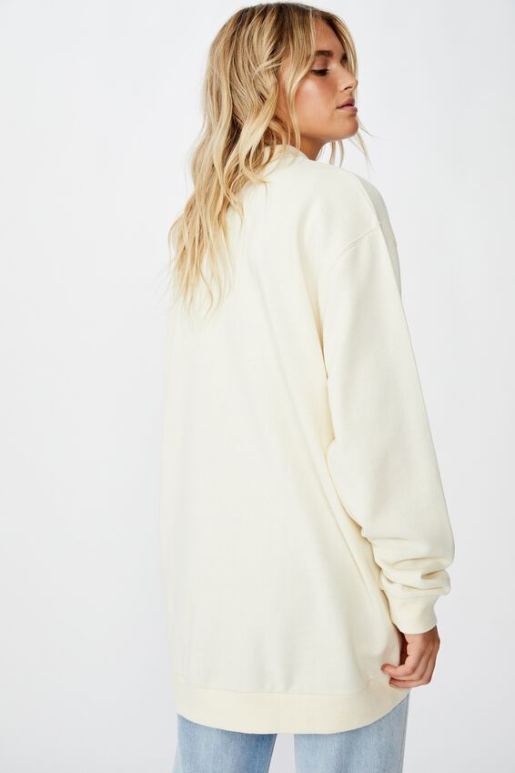 Mock Neck Oversized Fleece, BONE