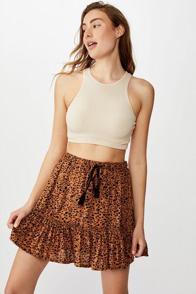 North Tiered Mini Skirt, HENLEY ANIMAL NEUTRAL