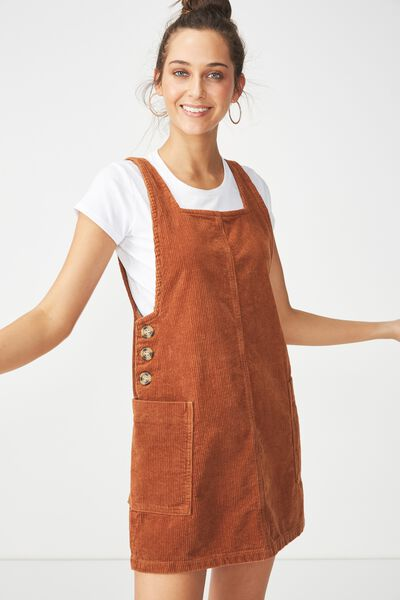 Denim Pinafore Dress, TOBACCO CORD