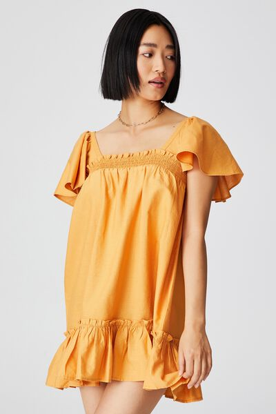 Woven Petite Florence Flutter Sleeve Tie Back Tuni, RETRO YELLOW