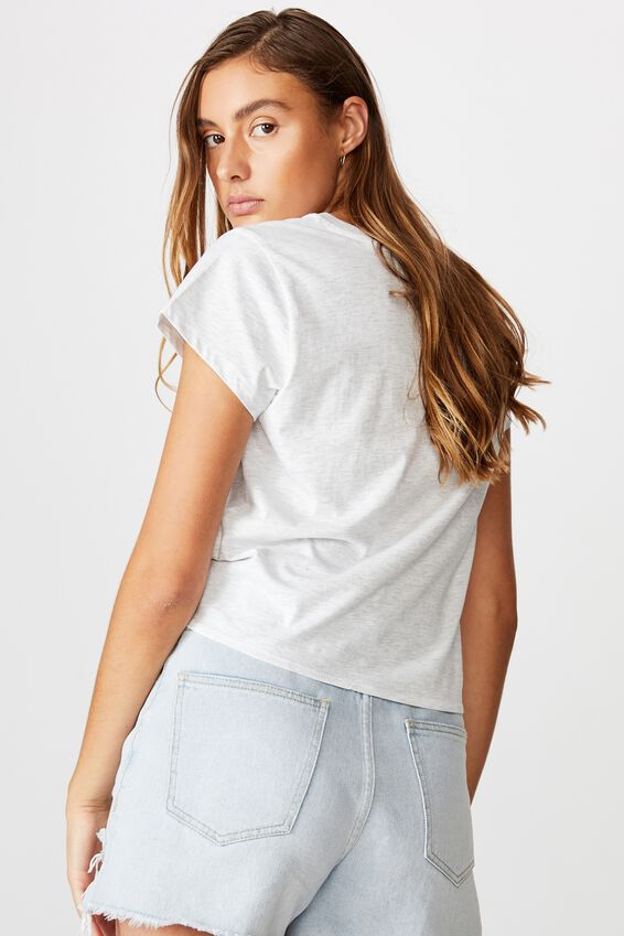 Tie Front Tee, DO NOT INTERRUPT/SILVER MARLE