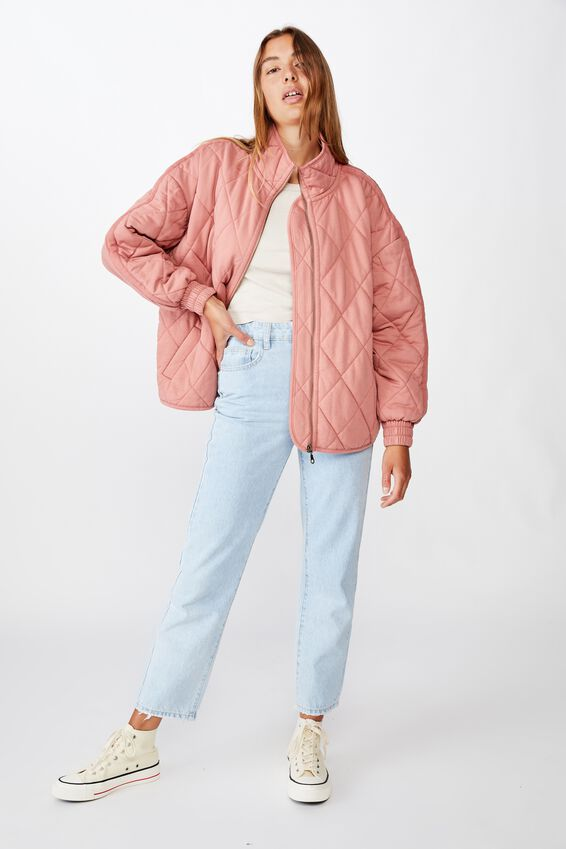 Toni Quilted Bomber, OLD ROSE