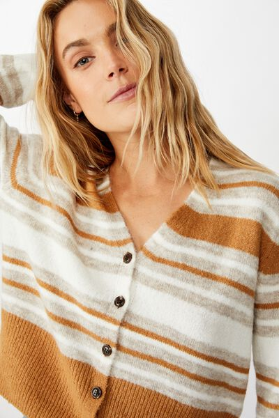 V Neck Button Through Cardi, NEUTRAL TAN