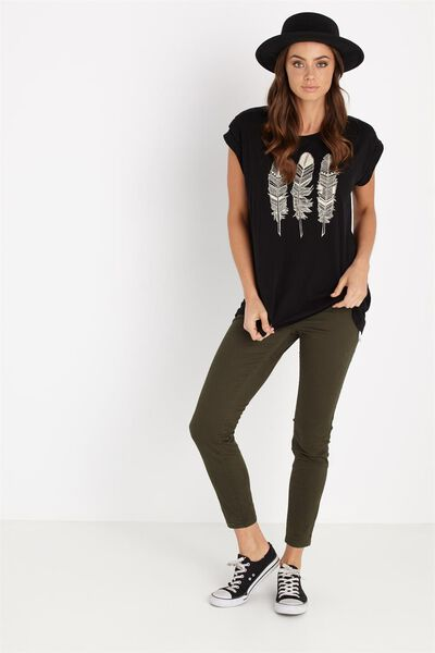 Mid Rise Jegging, SATEEN JUNGLE GREEN