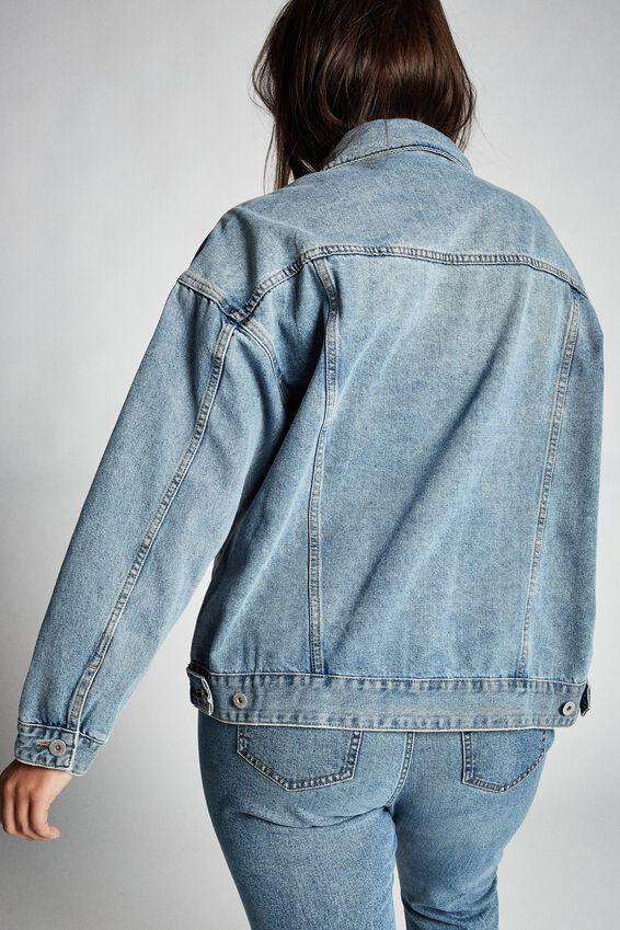 Curve Boyfriend Denim Jacket, VINTAGE BLUE