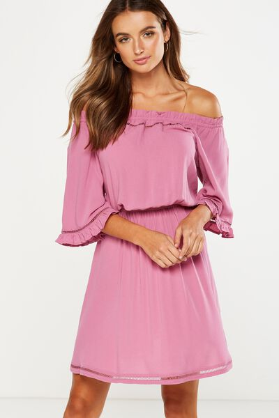 Woven Rosie Off The Shoulder Mini Dress, JAZZBERRY