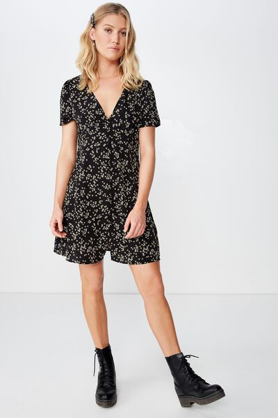 Woven Dotti Deep V Puff Sleeve Mini Dress, ALICE DITSY BLACK