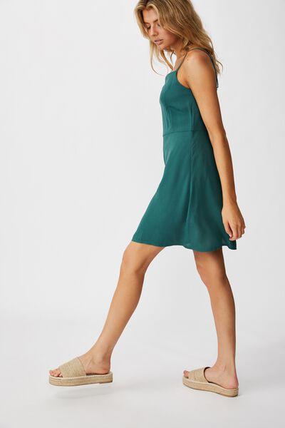 Woven Kendall Mini Dress, MALLARD GREEN