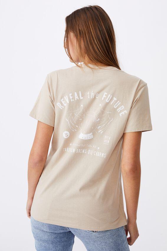 Classic Slogan T Shirt, REVEAL THE FUTURE/LATTE