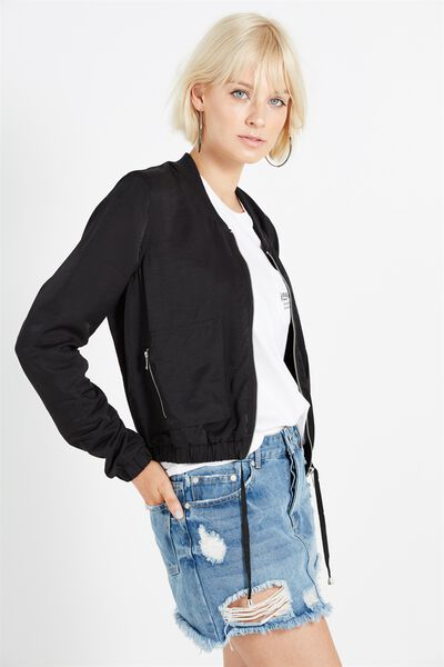 Nate Satin Light Weight Bomber Jacket, BLACK