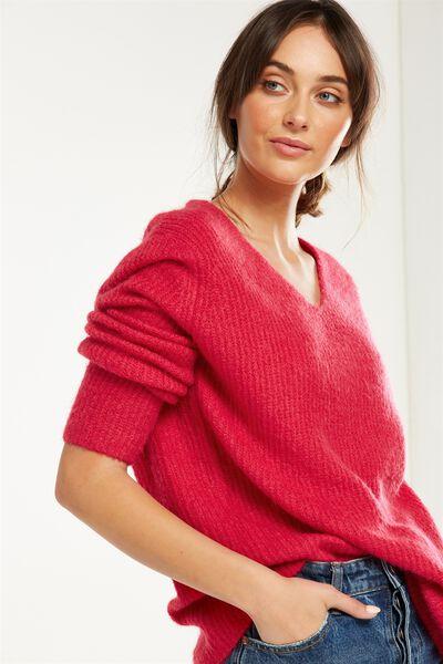 Vinnie V Neck Luxe Pullover, RASPBERRY DELIGHT