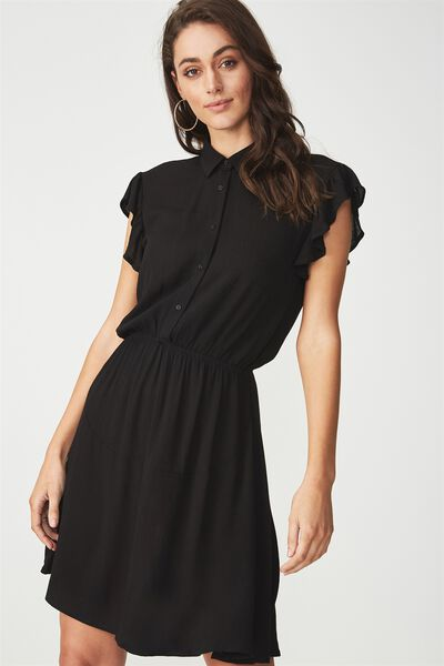 Woven Bertie Button Up Tea Dress, BLACK