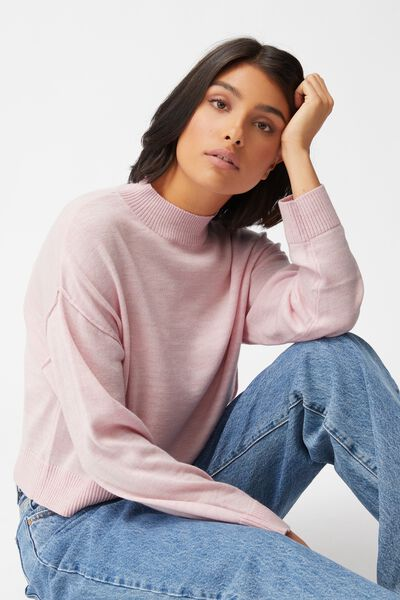 Wool Crew Neck Pullover, PINK GLOW MARLE