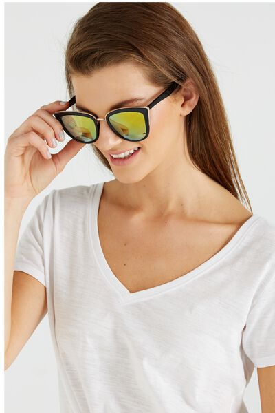 Gigi Cat Eye Sunnies, BLACK/YELLOW REV