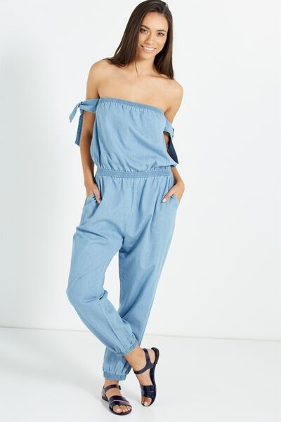Woven Blair Off The Shoulder Jumpsuit, CHAMBRAY