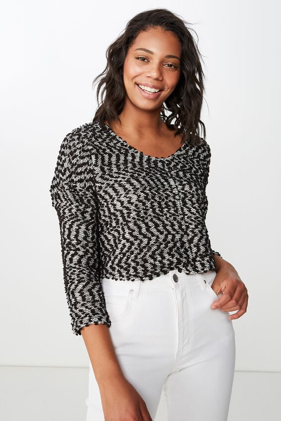 Stacey Long Sleeve Texture Top, BLACK