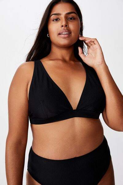 Curve Fixed Triangle Bikini Top, BLACK RIB