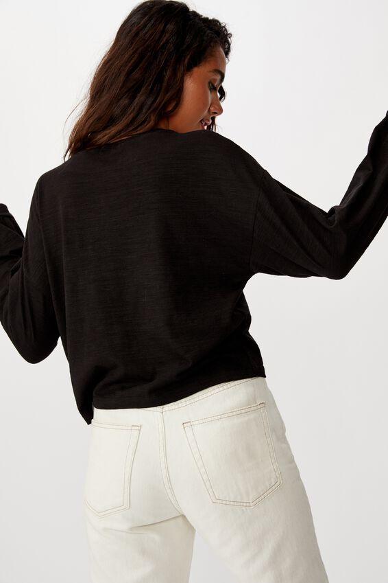Reid Chop Blouson Long Sleeve Top, BLACK
