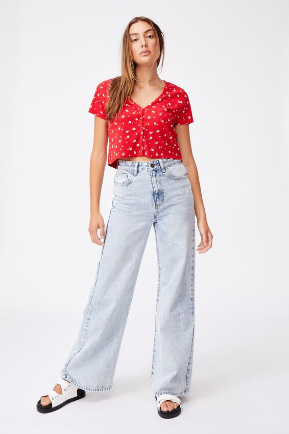 Janet Button Through Henley Short Sleeve, CLARE DITSY LUCKY RED