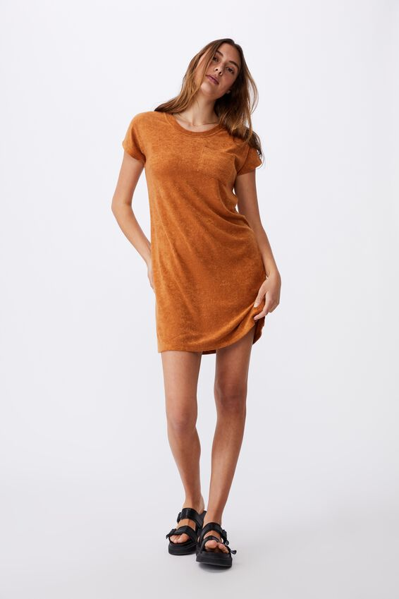 Terry Towelling Tshirt Dress, GOLDEN BROWN