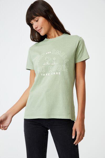 Classic Organic Cotton Lcn Graphic Tee, LCN PEA SNOOPY ROSES/GREENSTONE