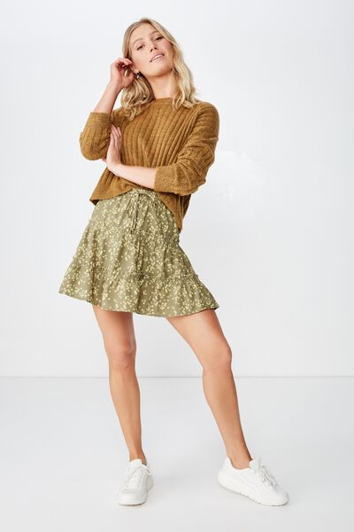 Woven Chloe Mini Skirt, ALICE DITSY LIGHT OLIVE
