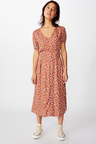 Woven Chloe Puff Sleeve Midi Dress, CHLOE DAISY DUSTY BROWN
