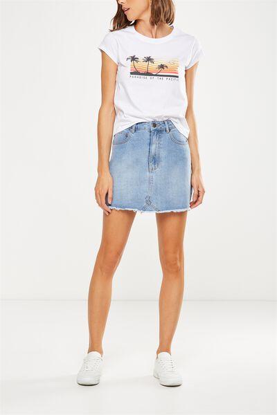 The Re-Made Mini Denim Skirt, BANDANA BLUE