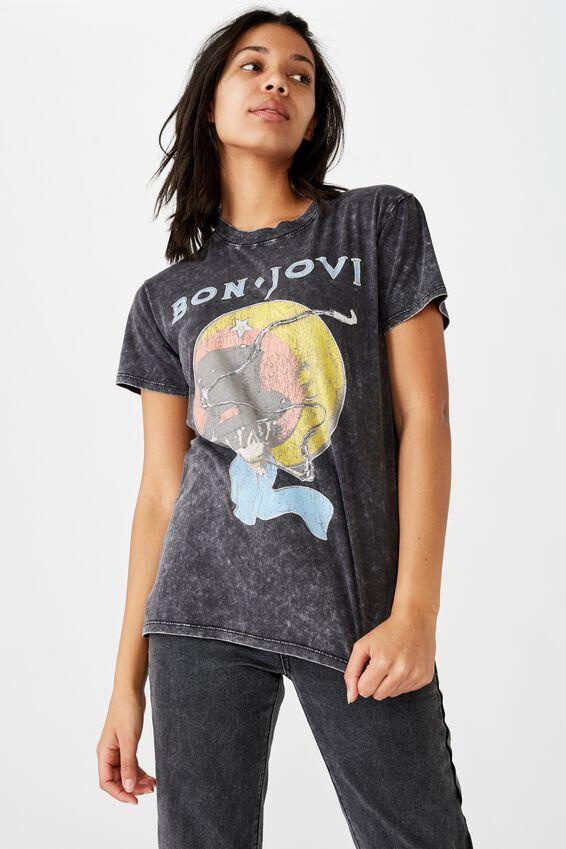 Classic Band T Shirt, LCN BAN BON JOVI SKULL/BLACK