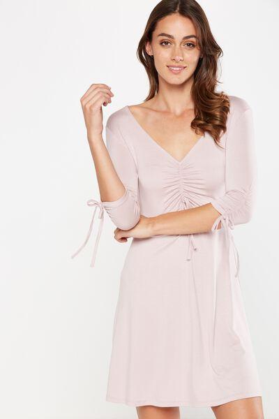 Carmel Rouched Fit Flare Dress, MAUVELOUS