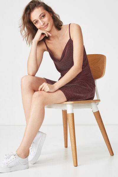 Cowl Neck Mini Dress, REDWOOD