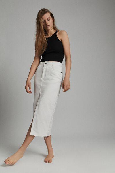 Front Split Denim Midi Skirt, WHITEHAVEN