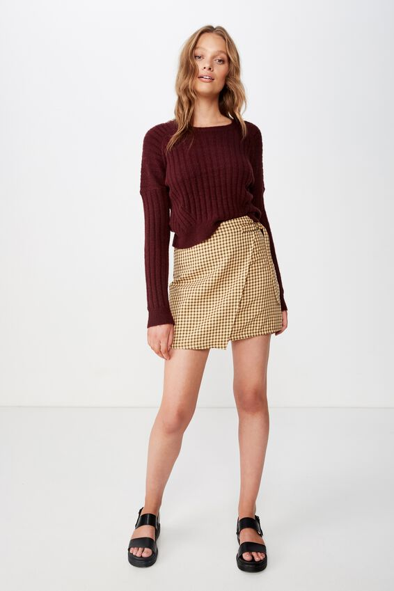 Woven Ivy Check Mini Skirt, MILLIE HOUNDSTOOTH HONEY YELLOW