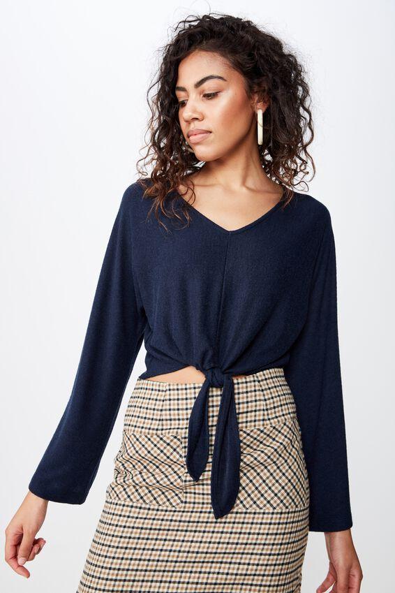 Mac Tie Front Kimono Sleeve Top, ECLIPSE