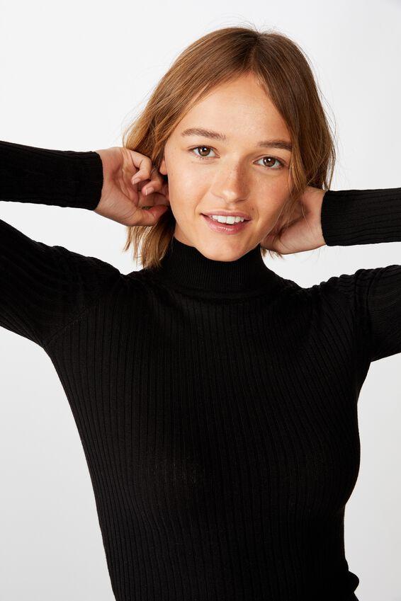 Quinny Ls Rib Pullover, BLACK