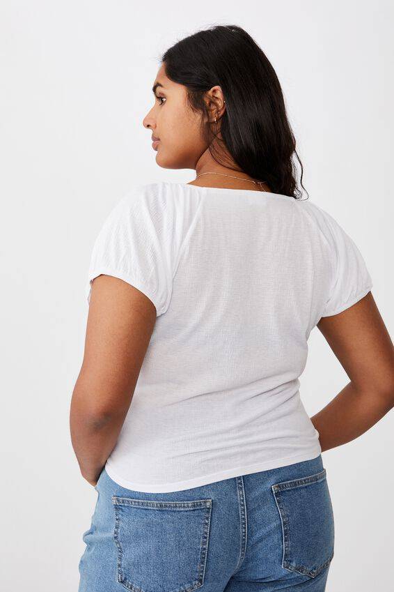 Curve Sally Sweetheart Short Sleeve Top, WHITE